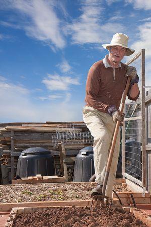 Older man gardening with pitchfork in garden bed photo