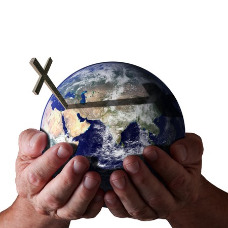 gods love: Hands holding world with cross on isolated black background. Religious Concept. Earth image courtesy of NASA. Stock Photo