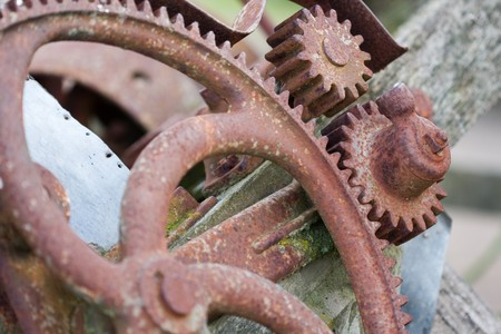 sprockets: Closeup of old machinery wheel and gear sprockets