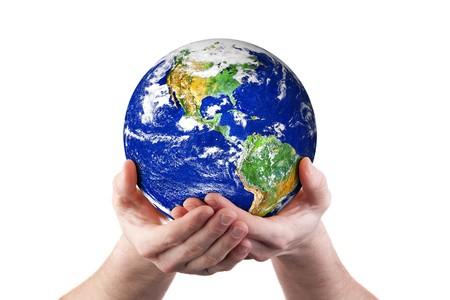 Hands holding world globe. Isolated on white.  Earth image courtesy of NASA Standard-Bild
