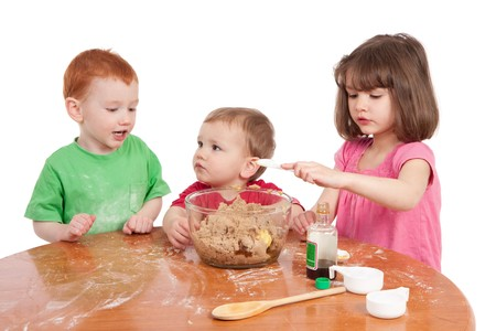 kitchen bench: Children cooking