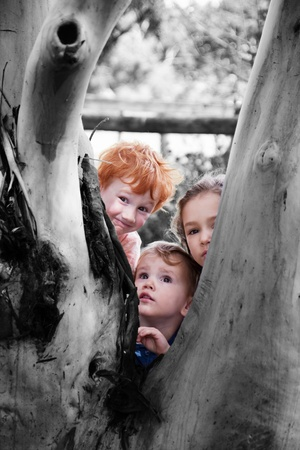 Three kids looking around tree in natural setting