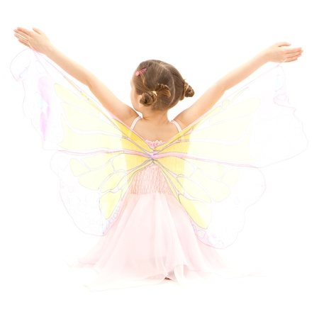 ballerina fairy: Girl child in kids butterfly ballerina costume  Isolated on white