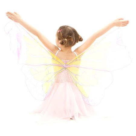 dressups: Girl child in kids butterfly ballerina costume  Isolated on white