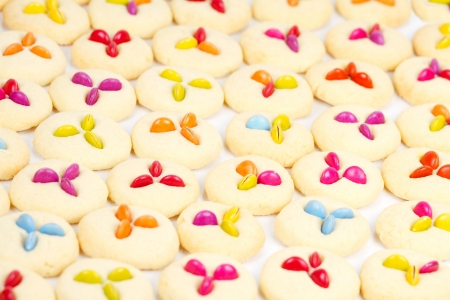 Cookies with lollies on white tray photo
