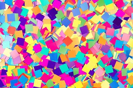 Fond coloré de confettis carrés de papier