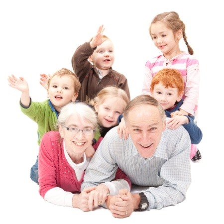 grandfather and grandmother: Happy grandparents with grandchildren Stock Photo