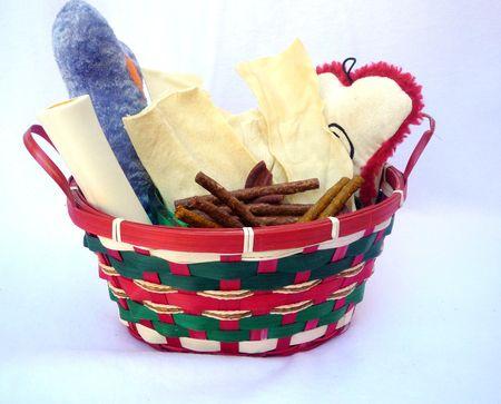 Christmas Dog basket with toys, and treats photo
