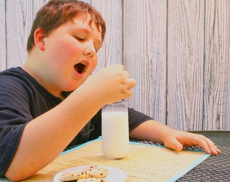 Young boy eating cookies and milk