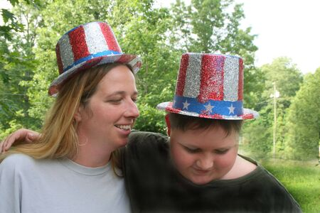 Mother and son wearing 4th of July hats Stock Photo - 5410725