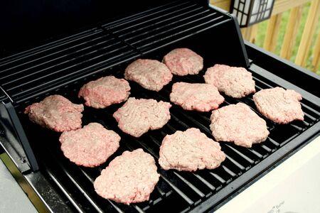 BBQ hamburgers on the grill
