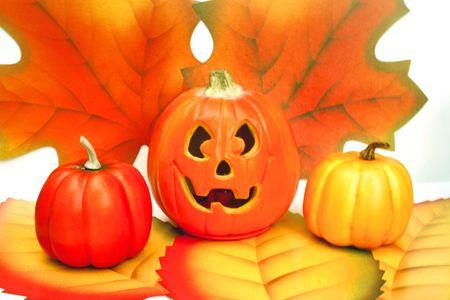 Jack-O-Lantern with pumpkins on both sides Stock fotó