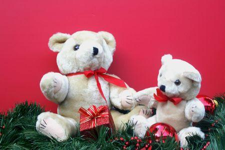 teddy bears: Dos osos de peluche con el tema de Navidad, regalos,