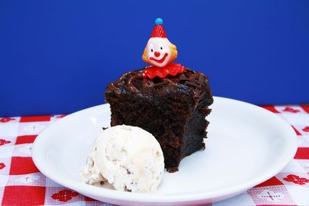 chocolaty: A Piece of chocolate cake with scoop of ice cream Stock Photo