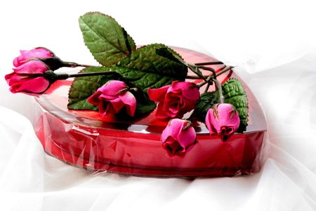 adulation: Box of valentine candy with roses Stock Photo