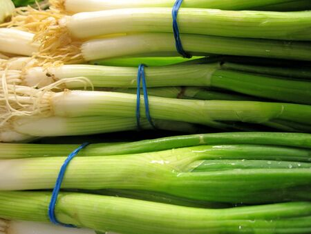 Bunches of onions Stock Photo