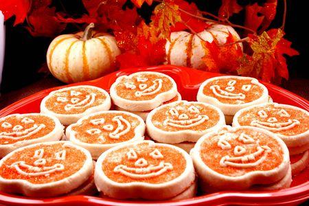 Platter of Halloween cookies Stock Photo