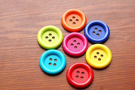 Colorful buttons on table