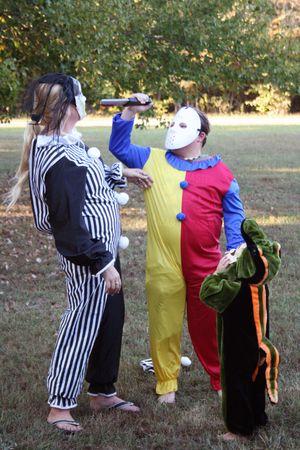 Three trick or treaters on halloween photo