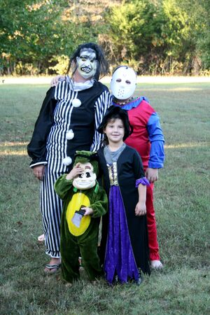 Trick or treaters on halloween photo