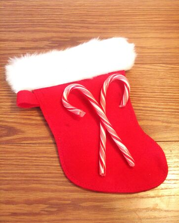 Christmas stocking with candy canes photo