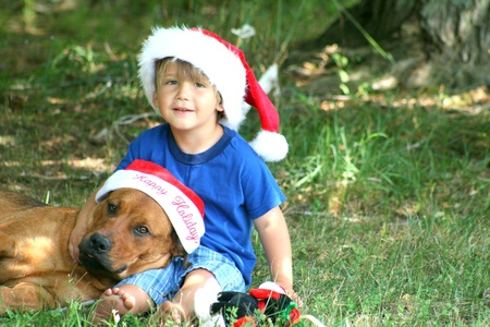 Young boy with dog in Christmas hats photo