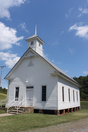 stained glass windows: Little white country church
