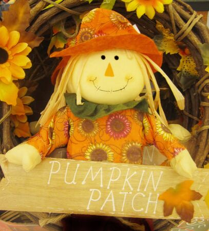 Scarecrow holding sign pumpkin patch