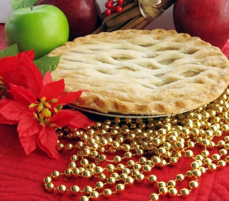 Hot Fresh apple pie with Christmas decorations