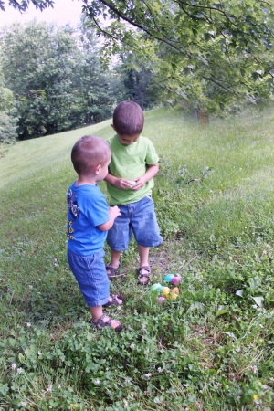 two  little boys with their Easterr Eggs Stock Photo