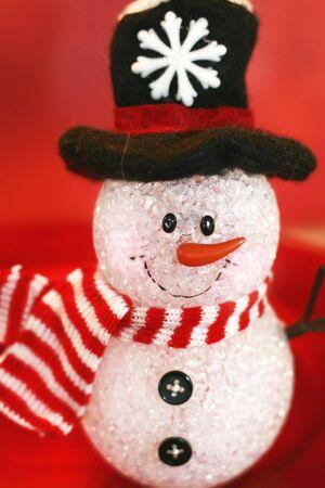 Decoration snowman with black hat Stock Photo