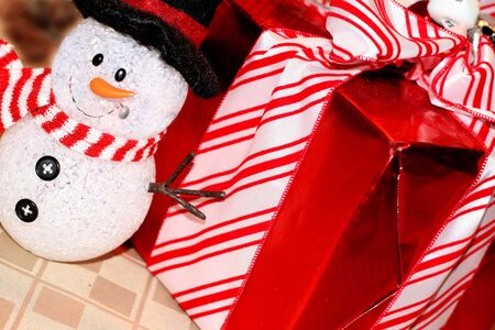 Pretty wrapped Christmas box with snowman