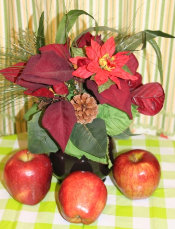 chritmas: Chritmas flowers and apples