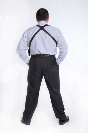 holster: a man with a holster bodyguard, without a jacket on a white background
