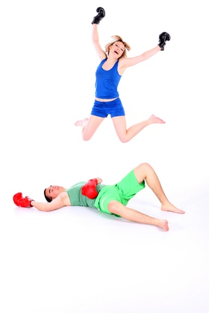 lovers are boxing, play, joy happiness photo