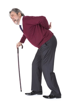 Full length portrait of old man with a cane photo