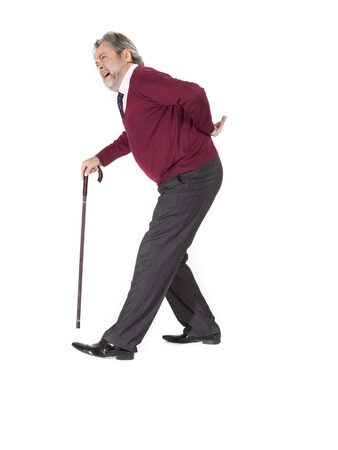 strenuous: Full length portrait of old man with a cane