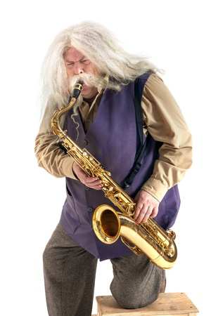 Old hippies saxophonist drayf photo