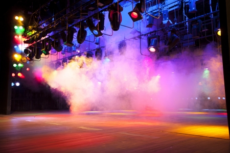 outdoor event: Stage lights on a console, smoke