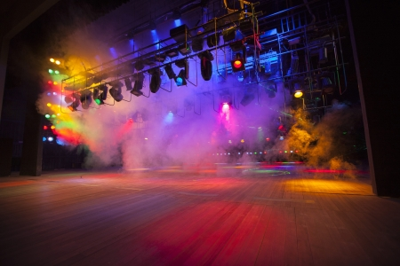 entertainment event: Stage lights on a console, smoke