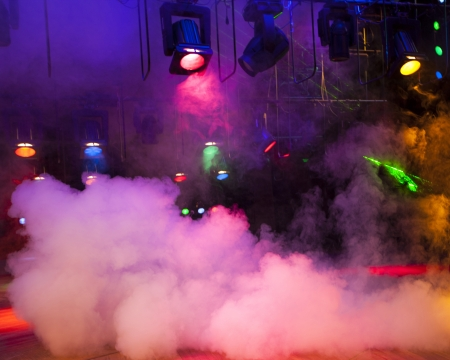 Stage lights on a console, smoke