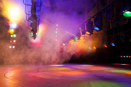 Stage lights on a console, smoke photo