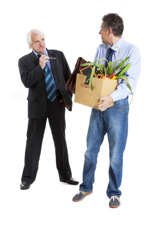 boss and fired man on white background photo