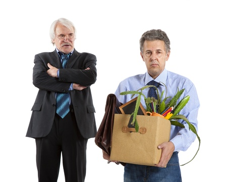 boss and fired man on white background Stock Photo