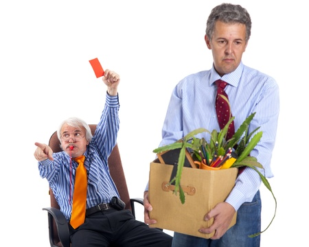 dismiss: the chief gives the orange card and whizzes to the dismissed worker, focus on boss