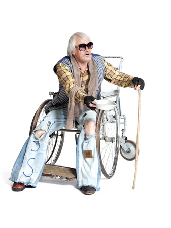 homeless man in a wheelchair asking for money Stock Photo - 21006325