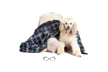 grandpapa:  man lies on his knees with his dog on a white background