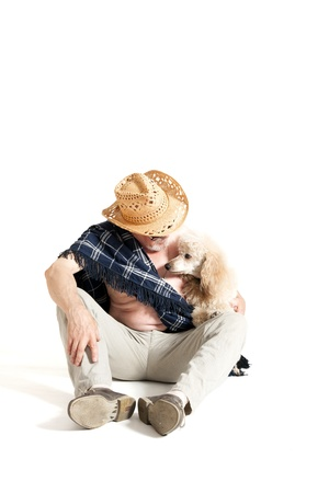 grandpapa: Man in a hat sitting with a poodle on white background