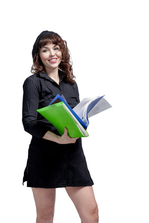 portrait of happy smiling young busy business woman with folders, over white background photo