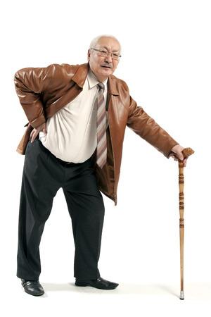 白で隔離の杖で中年の男性